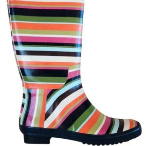 Coach Multi Colored Pammie Striped Rainboots